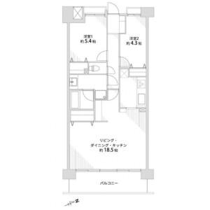 2LDK {building type} in Higashikotari - Nagaokakyo-shi Floorplan