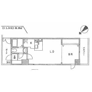 世田谷區用賀-1LDK公寓大廈 房間格局