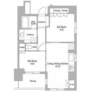 2LDK Mansion in Yochomachi - Shinjuku-ku Floorplan
