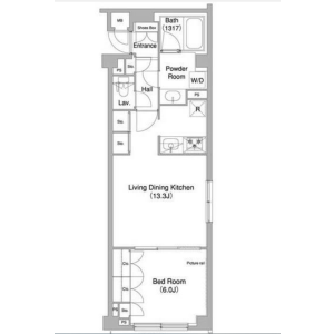 1LDK Mansion in Kamiosaki - Shinagawa-ku Floorplan