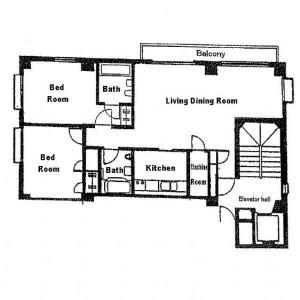 港區西麻布-2LDK公寓 房間格局