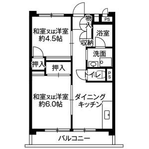 2DK Mansion in Yanagisaki - Kawaguchi-shi Floorplan