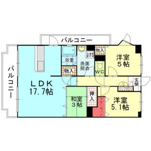 3LDK Apartment in Nakabarunishi - Kitakyushu-shi Tobata-ku Floorplan