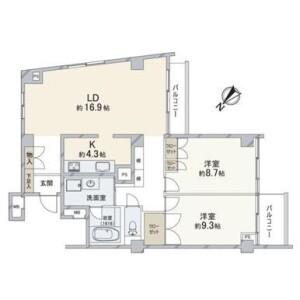 2LDK Apartment in Yamatecho - Yokohama-shi Naka-ku Floorplan