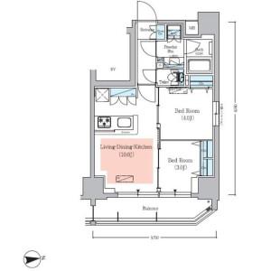 2LDK Mansion in Asakusabashi - Taito-ku Floorplan