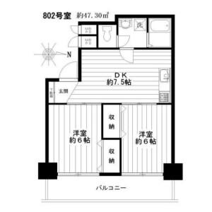 2DK Mansion in Ebisunishi - Shibuya-ku Floorplan