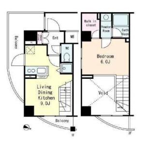 1LDK Apartment in Yamabukicho - Shinjuku-ku Floorplan
