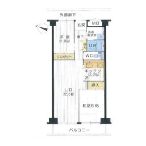 2LDK Mansion in Sakurashimmachi - Setagaya-ku Floorplan