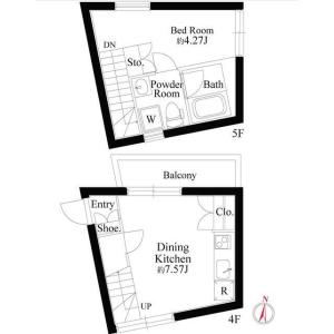 1DK Mansion in Sangenjaya - Setagaya-ku Floorplan