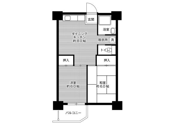 2DK Apartment to Rent in Sakai-shi Minami-ku Floorplan