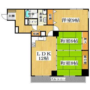 3LDK Mansion in Omiyacho - Nara-shi Floorplan
