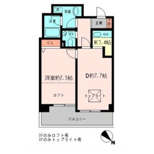 1LDK Apartment in Daikanyamacho - Shibuya-ku Floorplan