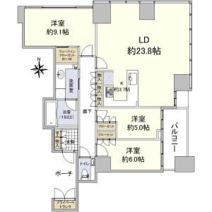 港区 - 港南 公寓 3LDK 房間格局