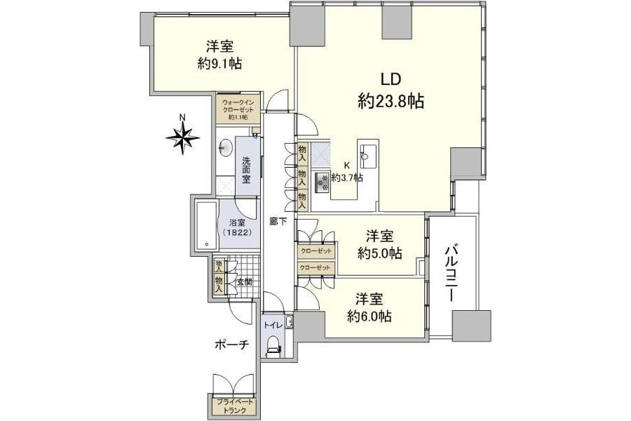 在Minato-ku購買3LDK 公寓的房產 房間格局