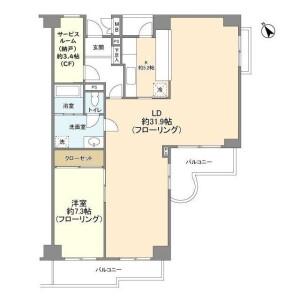 1SLDK Mansion in Kitashinagawa(5.6-chome) - Shinagawa-ku Floorplan
