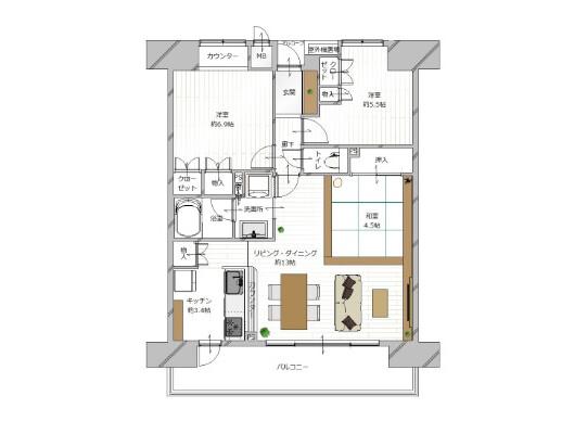 在京都市中京區購買3LDK 公寓大廈的房產 房間格局