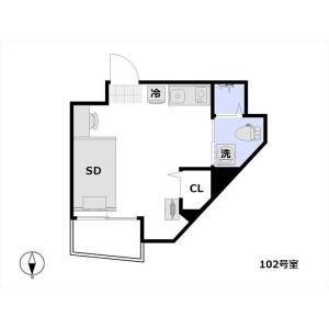 新宿區山吹町-1R公寓大廈 房間格局