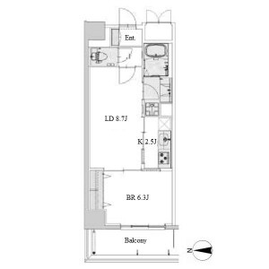1LDK Apartment in Shinsakae - Nagoya-shi Naka-ku Floorplan