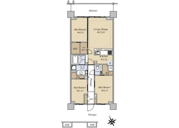 3LDK Apartment to Buy in Shinjuku-ku Floorplan