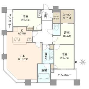 3LDK Apartment in Konan - Minato-ku Floorplan