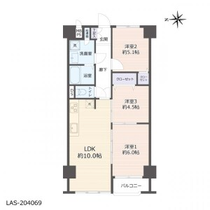 3LDK Apartment in Imafukunishi - Osaka-shi Joto-ku Floorplan