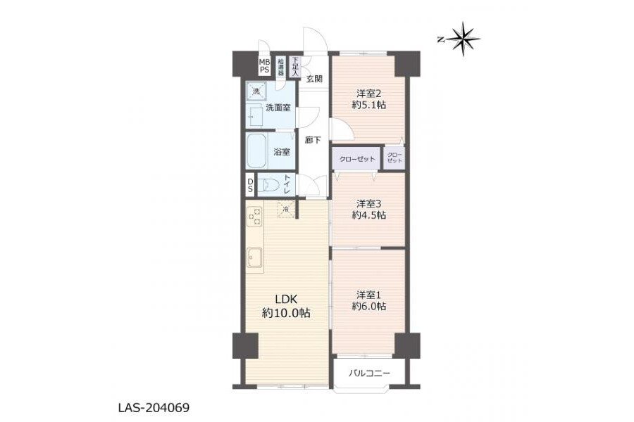 3LDK Apartment to Buy in Osaka-shi Joto-ku Floorplan