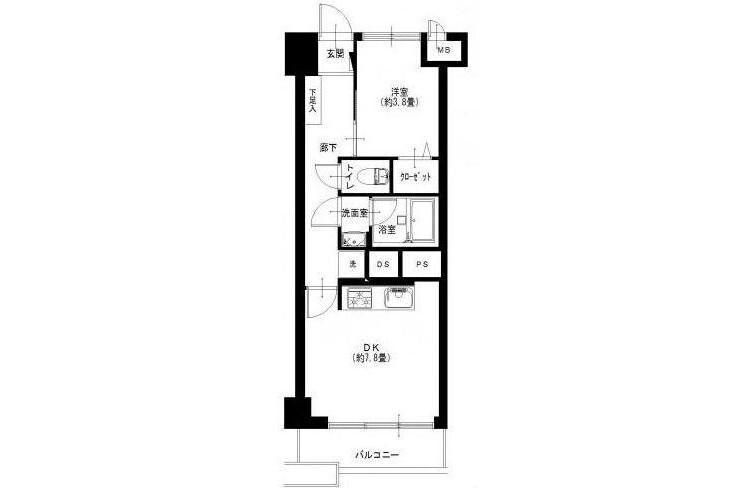 在Ota-ku購買1DK 公寓的房產 房間格局