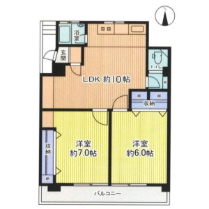 2LDK Mansion in Ikejiri - Setagaya-ku Floorplan