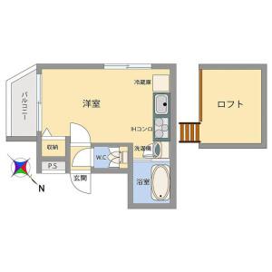 1R Mansion in Ogi - Adachi-ku Floorplan
