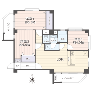 3LDK {building type} in Nakaochiai - Shinjuku-ku Floorplan
