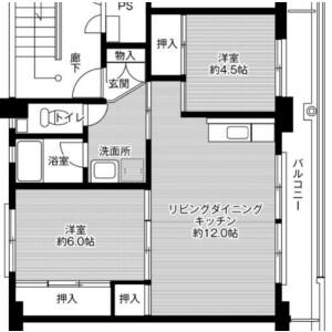 3DK Mansion in Sunawara - Tohaku-gun Misasa-cho Floorplan