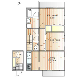 2DK Apartment in Shimouma - Setagaya-ku Floorplan