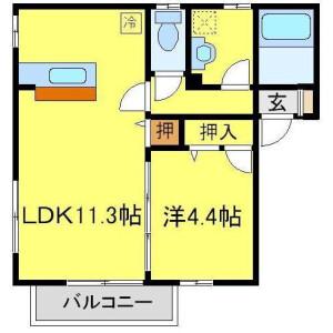 1LDK Apartment in Fujikicho - Kawagoe-shi Floorplan