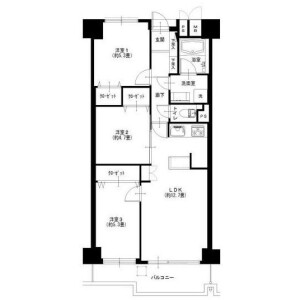 3LDK Apartment in Higashioi - Shinagawa-ku Floorplan