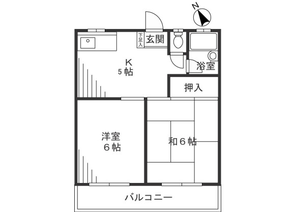 2K Apartment to Rent in Kawasaki-shi Takatsu-ku Floorplan
