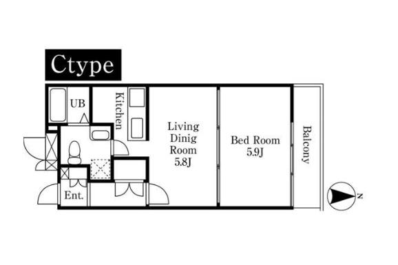 在Minato-ku内租赁1DK 大厦式公寓 的 楼层布局