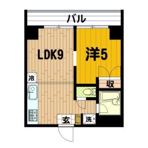 1LDK Mansion in Miyoshicho - Yokohama-shi Naka-ku Floorplan