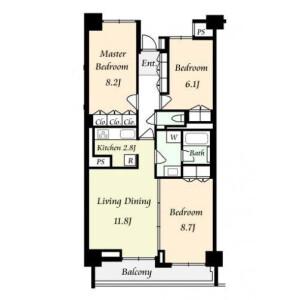 3LDK Apartment in Nishiazabu - Minato-ku Floorplan
