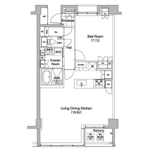 1LDK Apartment in Sarugakucho - Shibuya-ku Floorplan