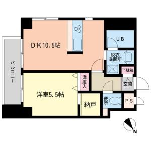 目黒区下目黒-1LDK公寓大厦 楼层布局