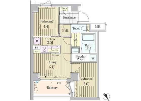 2DK Apartment to Rent in Shibuya-ku Floorplan