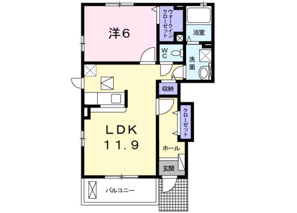 1LDK アパート 八王子市 間取り