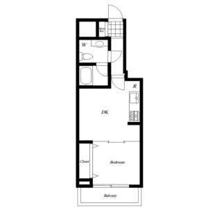 港区芝浦(2〜4丁目)-1LDK{building type} 楼层布局