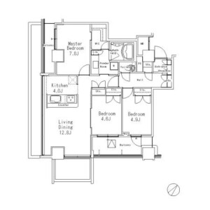 3LDK Mansion in Meguro - Meguro-ku Floorplan