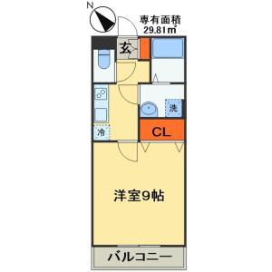 千葉市稲毛区緑町-1K公寓 楼层布局