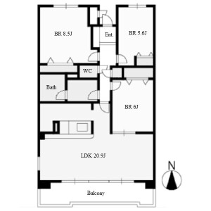 3LDK Mansion in Takikawacho - Nagoya-shi Showa-ku Floorplan