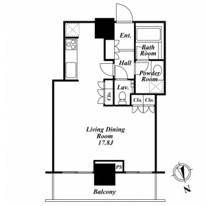 1R Mansion in Minato - Chuo-ku Floorplan