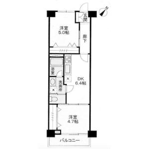 2DK {building type} in Aobadai - Meguro-ku Floorplan