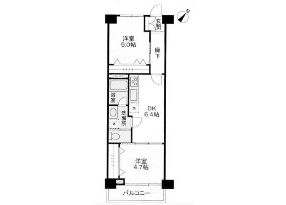 2DK Apartment to Buy in Meguro-ku Floorplan