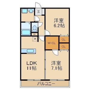 鶴ヶ島市新町-2LDK公寓大廈 房間格局